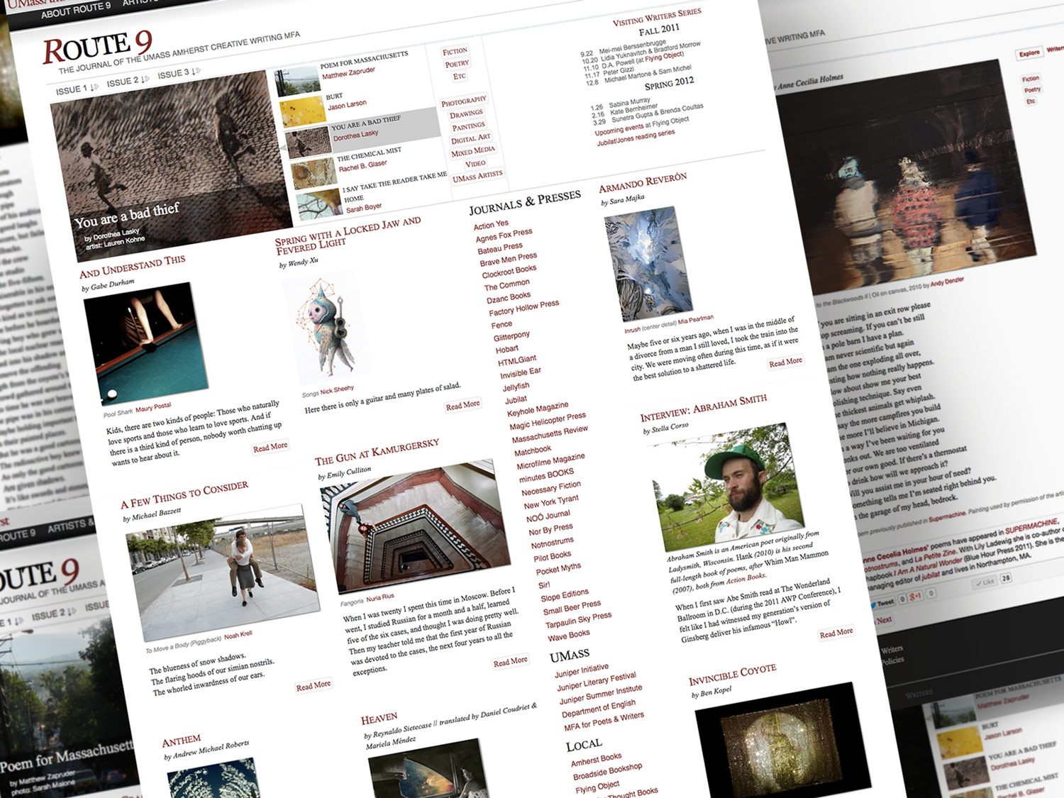 Route 9 Literary Magazine| v 2.0 homepage, article pages
